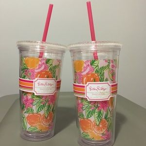 LILLY PULITZER reusable cold drink tumbler 20 oz